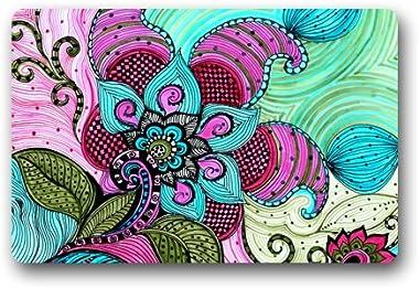 Print Art Flowers Customized Doormat Entrance Mat Floor Mat Rug Indoor/Front Door/Bathroom/Kitchen and Living Room/Bedroom Ma