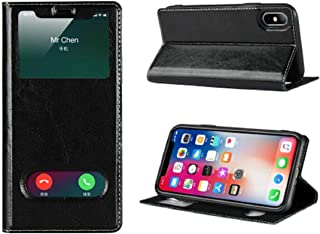 Jaorty iPhone Xs Max Case,Ultra Thin Flip Cover Case Dual Window View with Foldable Kickstand Feature Folio Slim Luxury Premium Genuine Leather Phone Case for Apple iPhone Xs Max,for Men Women,Black
