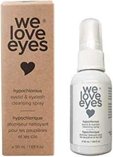 100% Oil Free Hypochlorous Eyelid Eyelash Cleansing Spray 0.012% - We Love Eyes - Optometrist made, Gentle, Refreshing, Soothing, No Rise Formula - 50 ml