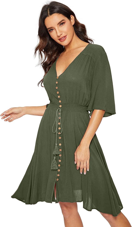 Milumia Women's Boho Button Up Split Solid Vintage Flowy Party Dress