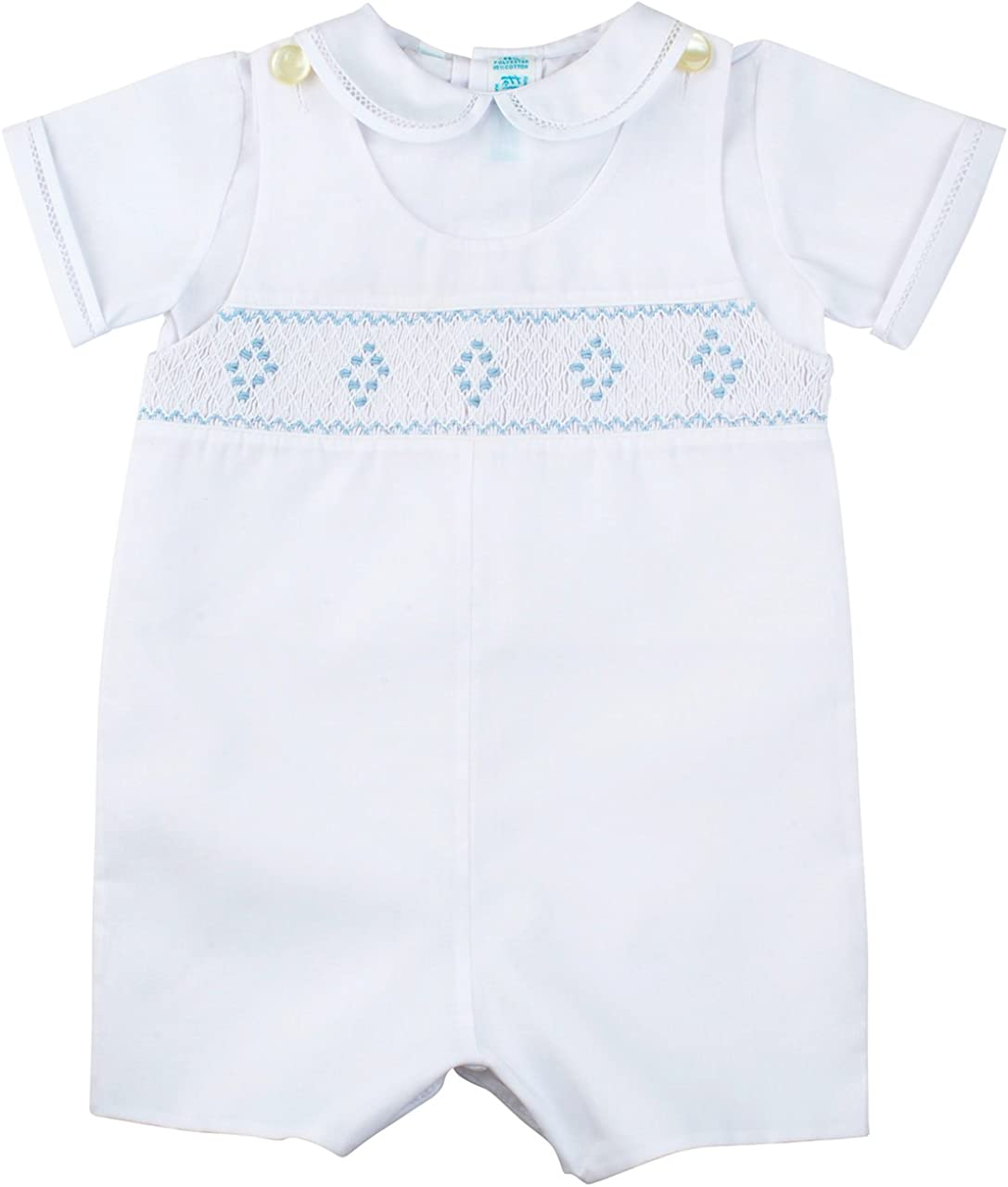 Feltman Brothers Baby Boys White and Blue Smocked Shortall Outfit with Shirt