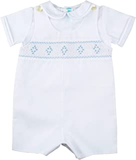 Baby Boys White and Blue Smocked Shortall Outfit with Shirt