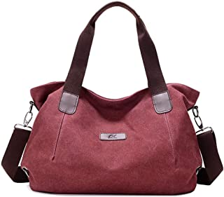 Women's Shoulder Bag, Handbag, Messenger Bag, Canvas Material, Large Capacity, Wearable and Breathable, Stylish and Simple Leisure, Suitable for Travel, Shopping, Office, School,Purple