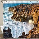 KGSPK Cortinas de Ducha,Increíbles Cuevas de Lava de Los Hervideros en la Isla de Lanzarote al Atardecer,Impermeable Cortinas Baño y Lavables Cortinas Bañera 180x180CM