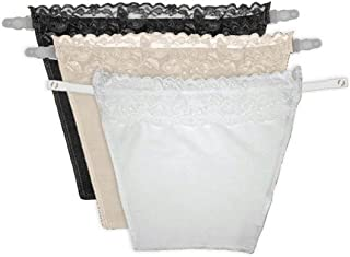 GLAMROOT Women's Cotton Clip-on Mock Lace Camisole Camisecret - Set of 3 (Black, White, Beige, One Size)