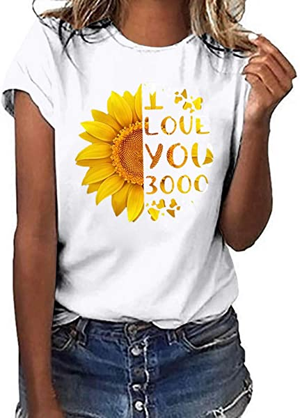 Women S Short Sleeve Casual T Shirt 2019 Ladies Summer I Love You 3000 Sunflower Print Plus Size Top