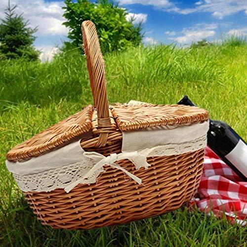 Belleashy Cesta De Picnic Cesta De La Compra De Picnic para Acampar con Asa De Tapa para Acampar Al Aire Libre Cumplea?os De Acción