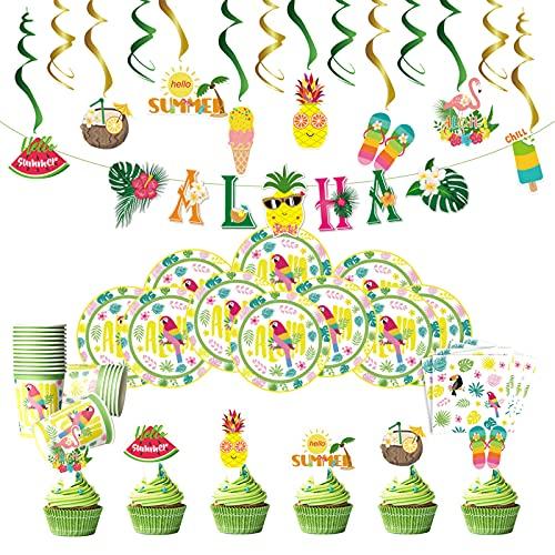 79 piezas Vajilla de Papel Cumpleaños Vajilla de Hawaianos Platos de papel Servilletas Vasos Aloha Banner Cupcake Toppers Decoracione de remolino colgantes Decoración de fiesta tropical Vajilla fiesta