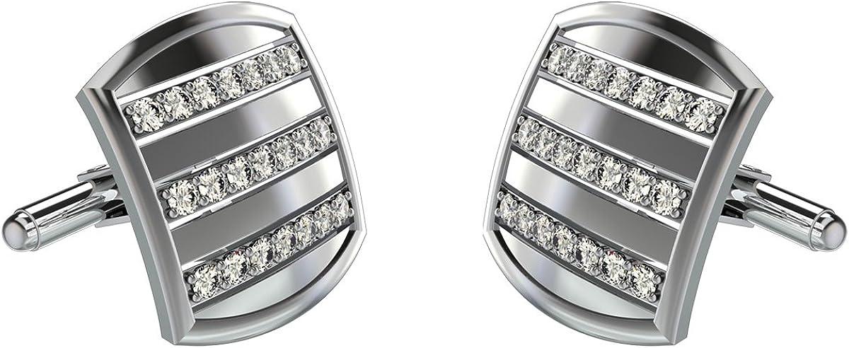 JewelsForum 10K White Gold Diamond Cufflinks with 0.90 Ct Diamonds