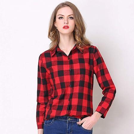 Cnsdy Camisas para Mujeres Camisas a Cuadros Camisas a Media ...