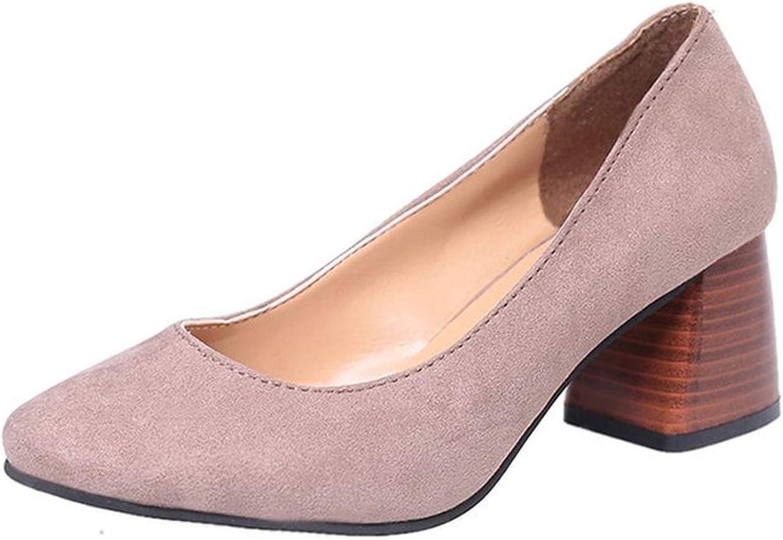 Women Sandals Flock Leather Mid-Heels Pumps Close Toe Sandals shoes Concise Spring shoes