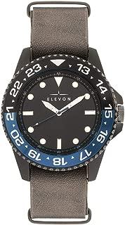 Dumont Men's Grey Leather Band Black Watch ELE108-5