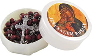 Nativity Gift Shop Rose Petal Scented Rosary with Soil Sample from Jerusalem (15 x 1.6 x 13.4 inches)