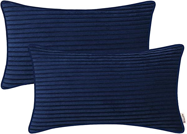BRAWARM Pack Of 2 Comfy Bolster Pillow Covers Cases For Couch Sofa Bed Solid Corduroy Striped Supersoft Cushion Covers With Piping Both Sides For Home Decor 12 X 20 Inches Navy Blue