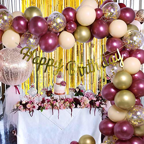 Burgundy Gold Birthday Party Decorations Balloon Garland Arch Kit Happy Birthday Banner Sequin Balloon Tinsel Foil Fringe Curtains