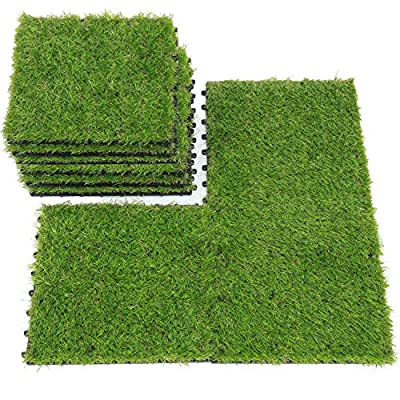 QYH Artificial Grass Tile Interlocking Floor Tiles Grass Deck Mats Tile Fake Grass Turf Synthetic Grass Carpet for Indoor Outdoor Patio Flooring 1'x1'