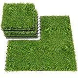 SUMC Rasenfliesen 9 Stück Kunstrasen Bodenfliesen für draußen Innen Gras Klickfliesen mit Kunstrasen Florhöhe von 30 mm, 12×12 Inch