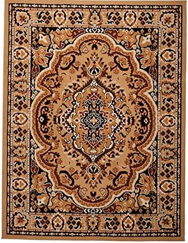 Carpeto Orientteppich Teppich Beige 120 x 170 cm Medaillon Muster Kurzflor Verona Kollektion