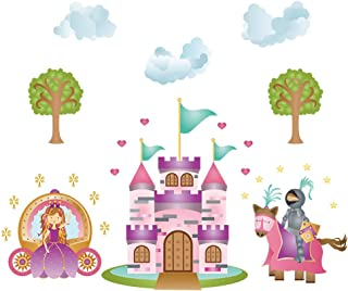 decalmile Princess and Knight Wall Decals Fairy Tale Castle Girls Wall Stickers Kids Bedroom Baby Girls Room Wall Decor