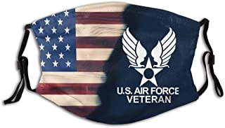 Love Air Force Face Cover Mouth Bandana Protective 5-Layer Activated Carbon Filters M-Shaped Nose Clip For Mens Womens