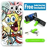 [Ashely Cases] For Samsung Galaxy S7 Cover Case Skin with Flexible Phone Stand - Spongebob Friends