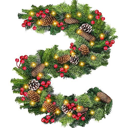 360cm Guirlande de Sapin Artificiel Lumineuse Noël, Valorwin Guirlande Artificielle Sapin avec Lumineux LED Baies Rouges Décoratif Couronne de Noël Artificielle Guirlande pour Porte Escalier Cheminée