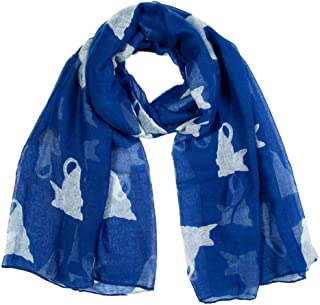 NJTSXLM Scarves Women Ladies Print Wave Point Print Chiffon Scarf Wrap Shawls Headband Soft Long Scarf Neck Bandana (Color : Navy)