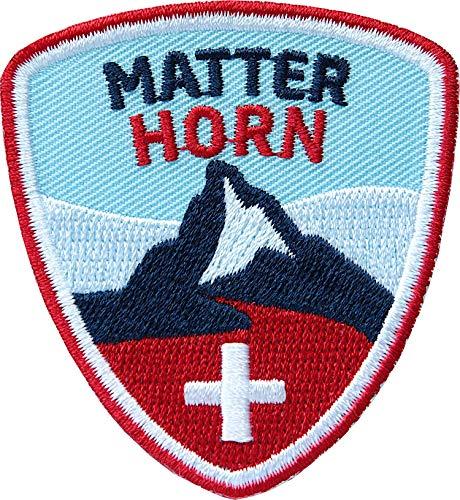 Club of Heroes 2 x Matterhorn Abzeichen 55 x 60 mm gestickt/Bergtour Schweiz Walliser Alpen Zermatt Bergsteigen Wandern Klettern/Aufnäher Aufbügler Sticker Patch/Wallis Reiseführer Wanderkarte