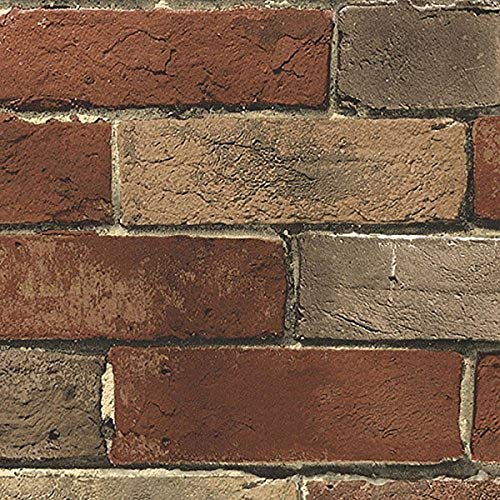 Wallpaper Faux Smooth Rust Tuscan Brick Wall, Looks Real Up!...