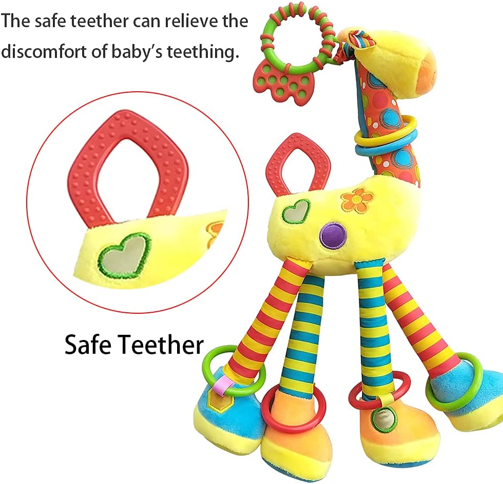 D-KINGCHY Baby Rattle Plush Rings, Soft Baby Teething Rattle Toys, Newborn Stroller Car Seat Plush Animal Toy with Teether, Sounds and Handle for 0-3 Years Old (Yellow) : Toys & Games