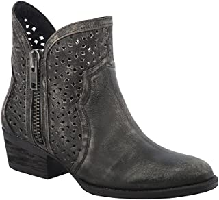 Corral Urban Women's Laser Cutout Distressed Black/Grey Leather Shortie Cowboy Boots