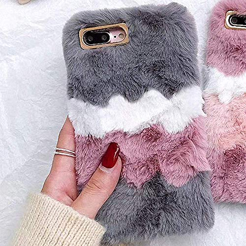 LAPOPNUT Plush Cover for iPhone 6 Plus Case iPhone 6S Plus Case Girls Soft Furry Case Fluffy Ice Cream Faux Fur Silicon Cover Washable Warm Winter Protective Case for Girls,Grey