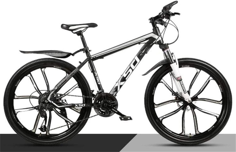 メンズマウンテンバイク、26インチホイールコミューター市ハードテイルオフロードダンピング都市道路の自転車 (Color : 黒 白い, Size : 27 speed)