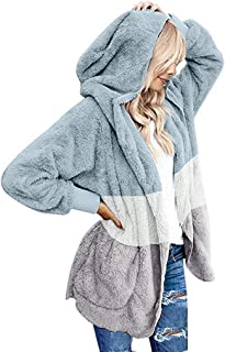Sunmoot Clearance Sale Faux Fur Coat for Womens Plush Soft Hoodies Winter Casual Open Front Long Sleeve Jacket TeddyCoats