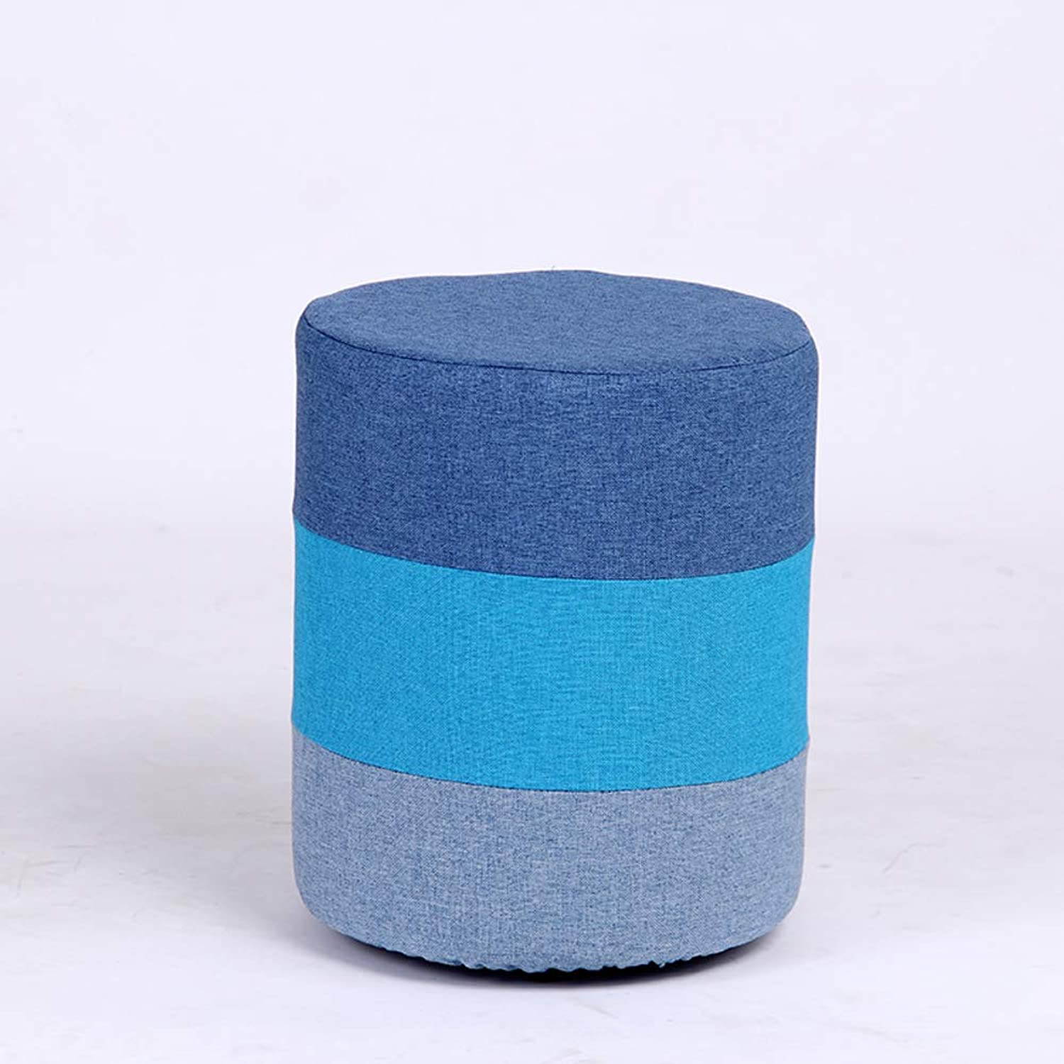 Simple Nordic Footrest Stool, Small Round Rainbow shoes Changing Bench-bluee 29x35cm(11x14inch)