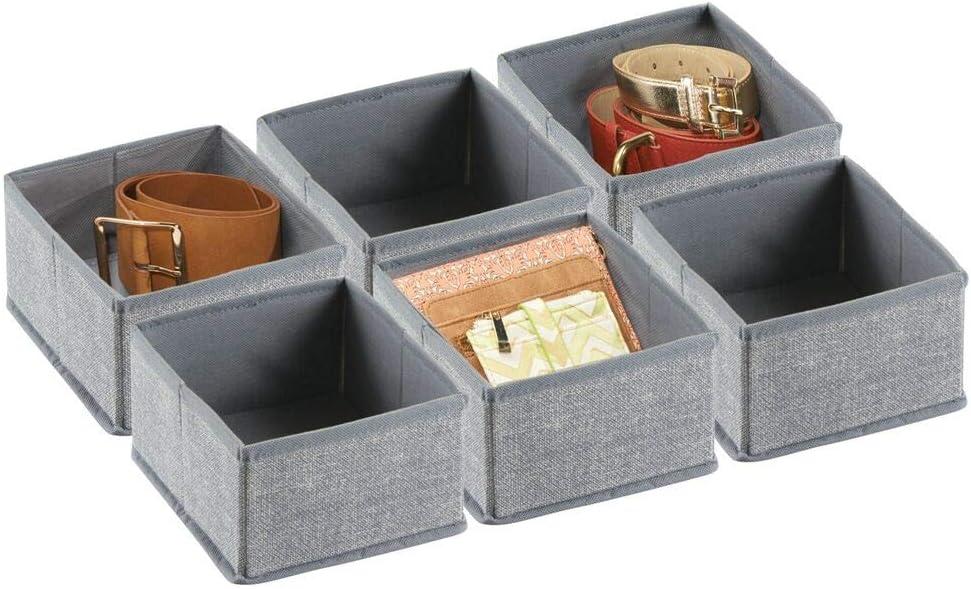 mDesign Juego de 6 cajas organizadoras de tela – Ideales y pequeños organizadores para cajones y armarios de polipropileno transpirable – Versátiles cestas de tela con diseño jaspeado – gris