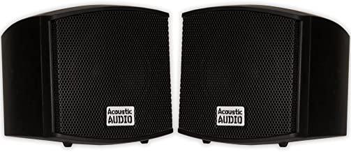 Acoustic Audio AA321B Mountable Indoor Speakers 400 Watts Black Bookshelf Pair
