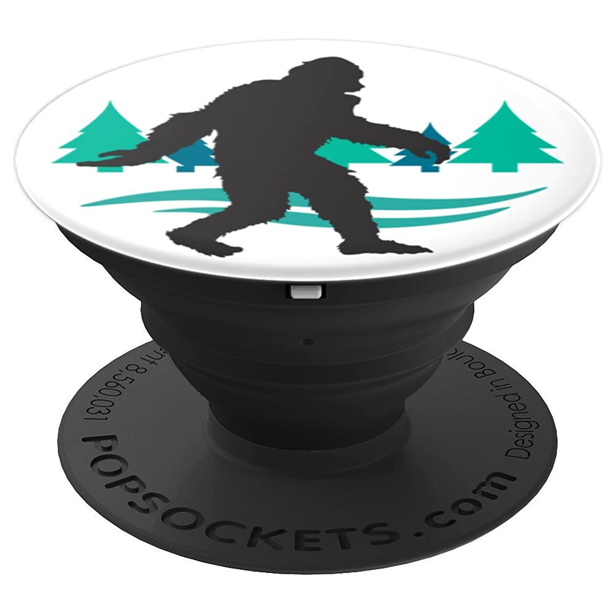 Bigfoot in the Woods Camping Evergreen Trees Green and Blue - PopSockets Grip and Stand for Phones and Tablets