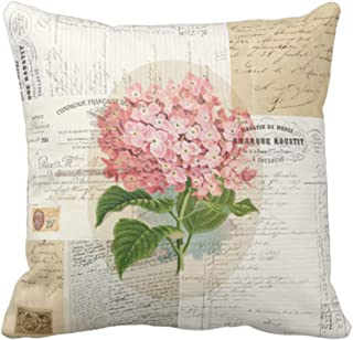 Emvency Throw Pillow Cover Flower Paris Vintage Pink Hydrangea French Script Decorative Linen Pillow Case Home Decor Square 16 x 16 Inch Pillowcase