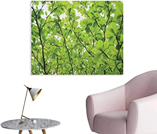 Anzhutwelve Leaves Painting Post Close up Tree Leaves from an Uprising Angle High Plants Summer Fresh Environment Habitat Cool Poster Green W36 xL32