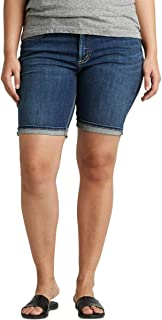 Silver Jeans Co. womens Plus Size Suki Mid-Rise Curvy Bermuda Short Denim Shorts