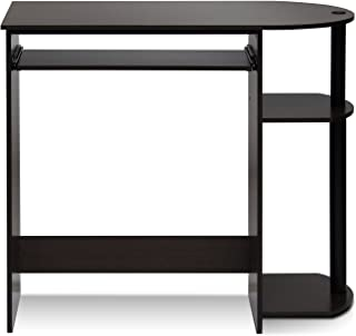 Furinno Simplistic Easy Assembly Computer Desk, With Keyboard Tray, Dark Brown/Black