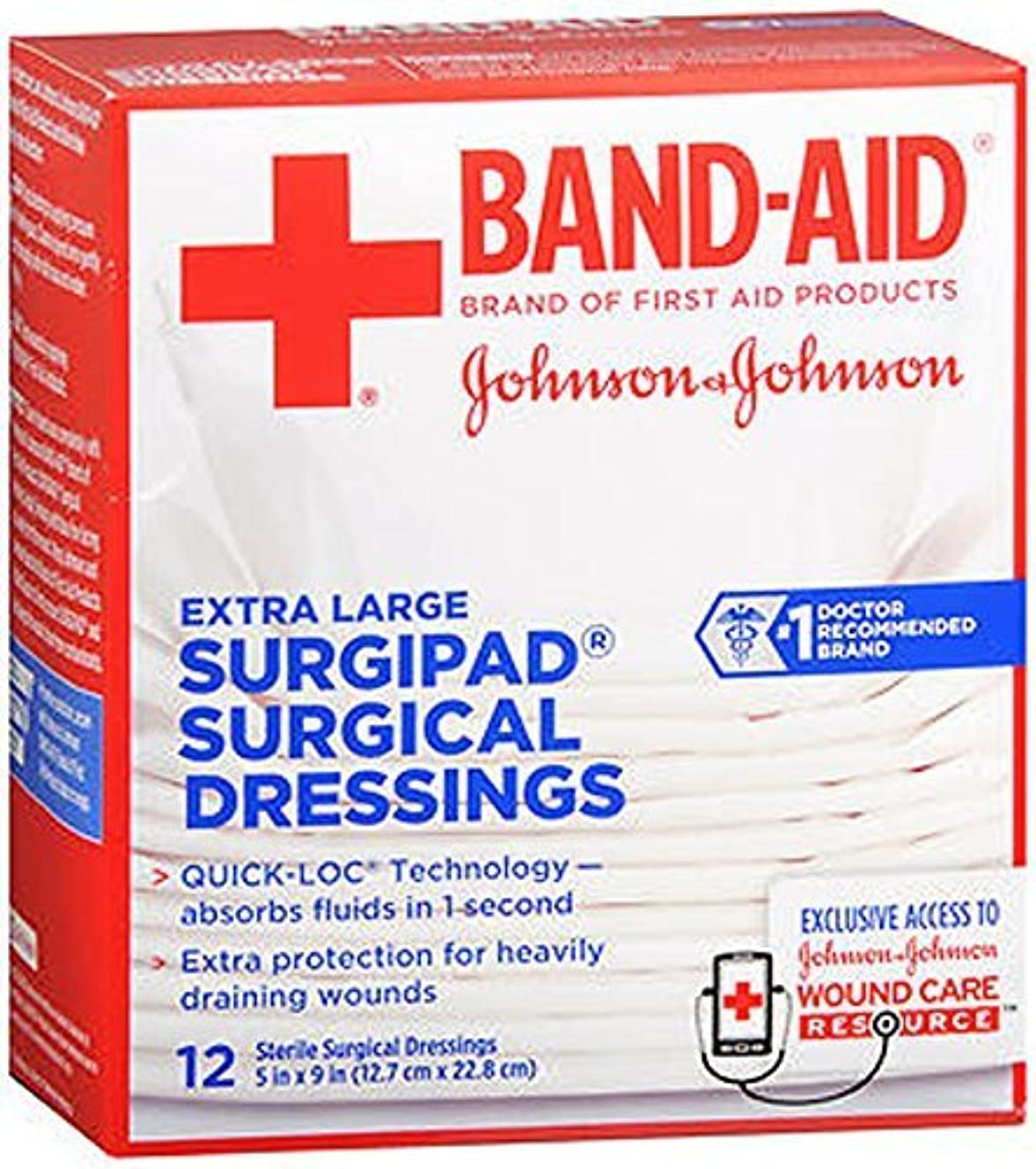 BAND-AID Surgipad Surgical Dressings Extra Large 5 in x 9 in - 12 each by Band-Aid