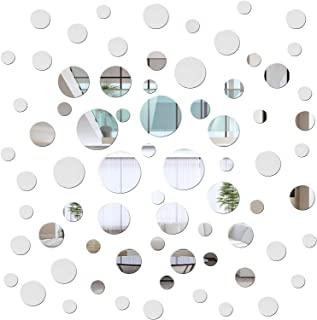 Gukasxi 72 Pieces Acrylic Round Circle Mirror DIY Wall Stickers Removable Acrylic Mirror Wall Decals for Living Room Dinin...
