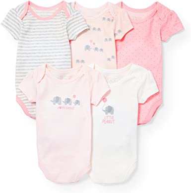 The Childrens Place Baby-Girls 5 Pack Printed Bodysuit Baby and Toddler Layette Set