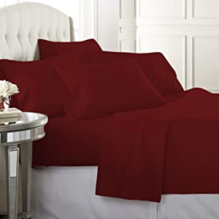 ADDY HOME FASHIONS Xuvet 6 Piece 625 Thread Count 100% Egyptian Cotton Sheet Set, Queen, Burgundy