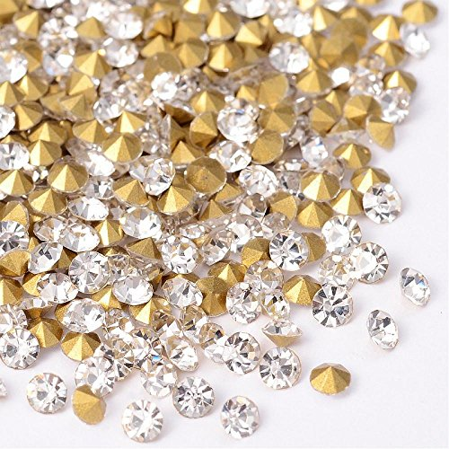 PandaHall Elite Spiky Diamante Cristal Rhinestone Plateado Arte y la joyería DIY, Cristal, 2.3~2.4 mm; Sobre 1440pcs / Bolsa