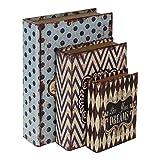 HMF 80961 Libro Segura'Amor' Conjunto de 3, Aspecto Antiguo, Caja de Caudales Camuflada, 32,5 x 23,5 x 7,5 cm