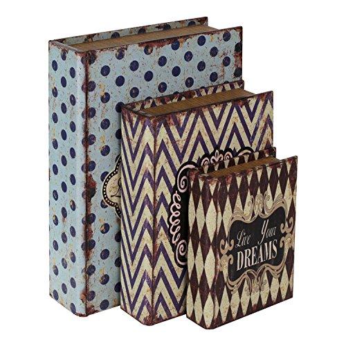 HMF 80961 Libro Segura Amor Conjunto de 3, Aspecto Antiguo, Caja de Caudales Camuflada, 32,5 x 23,5 x 7,5 cm