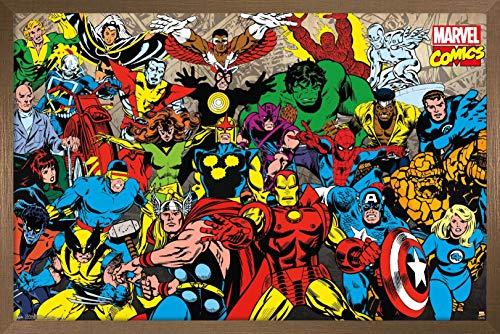 Trends International Marvel Comics - Retro Lineup Wall Poster, 22.375' x 34', Bronze Framed Version